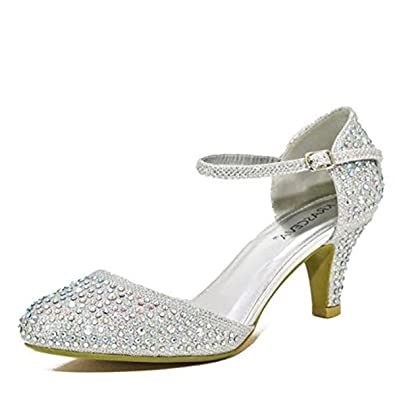a0851eecd86e Chic Feet Silver Glitter Womens Party Diamante Evening Wedding Bridal Prom  Mary Jane Low Heel Shoes