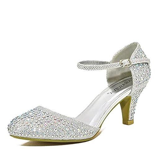 zapatillas de deporte para baratas lo último hacer un pedido Chic Feet, zapatos de tacón bajo con brillantes, para bodas o fiestas, con  brillo plateado o dorado