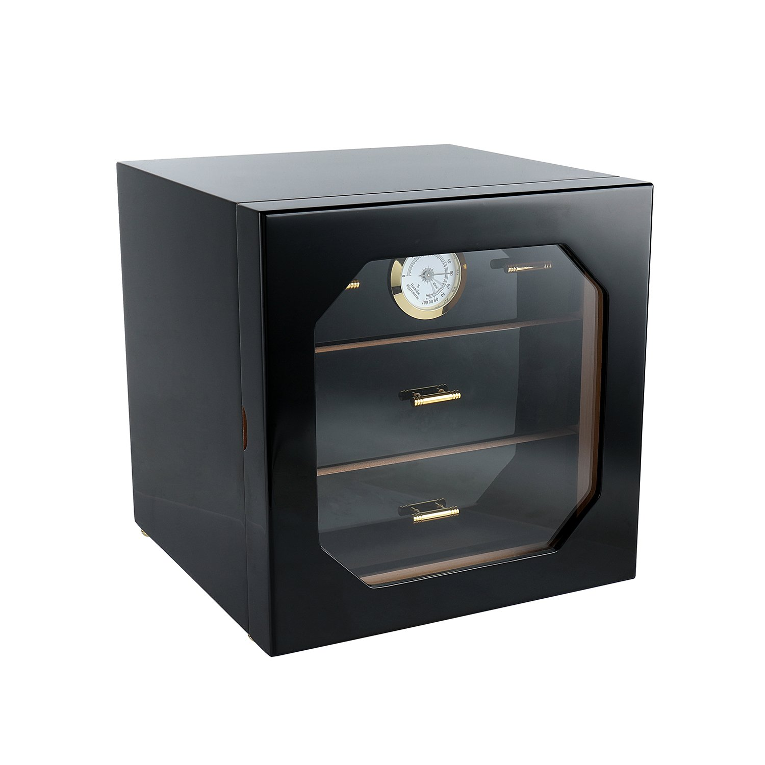 A Comely Medium Cigar Cabinet Humidor with Hygrometer and Humidifier, Spanish Cedar Wood Lined and 3 Layer Drawers, Tempered Glass Door, Decent Cigar Box Gift Set(Black Lacquer)