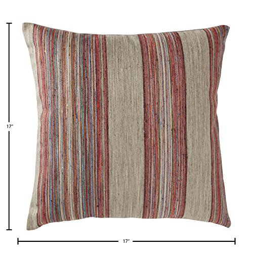 """Rivet Bohemian Stripe Pillow, 17\"""" x 17\"""", Fuschia"""