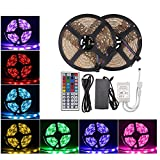 LED Light Strip, Flykul LED Strip Lights Waterproof LED Strip Light Kit, Flexible RGB 5050 SMD 300LEDs Light Strip With 44 Keys IR Remote Controller and DC 12V 5A Power Adapter (32.8Ft / 10M)