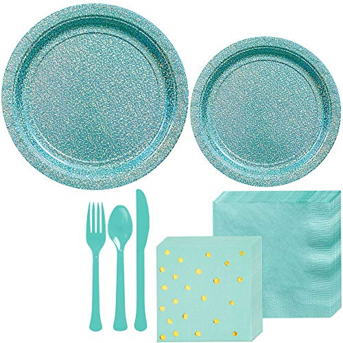 (Party City Prismatic Robin's Egg Blue Tableware Kit for 16 Guests, 146 Pieces, Includes Plates, Napkins, and)