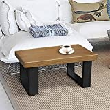 ART TO REAL Rustic End Coffee Table, Wood Look Sofa End Side Table, Aluminum Frame Side Cocktail Table for Living Room Outdoor and Office, 27.56'' x 14.96'' x 11.4'' (End Table)