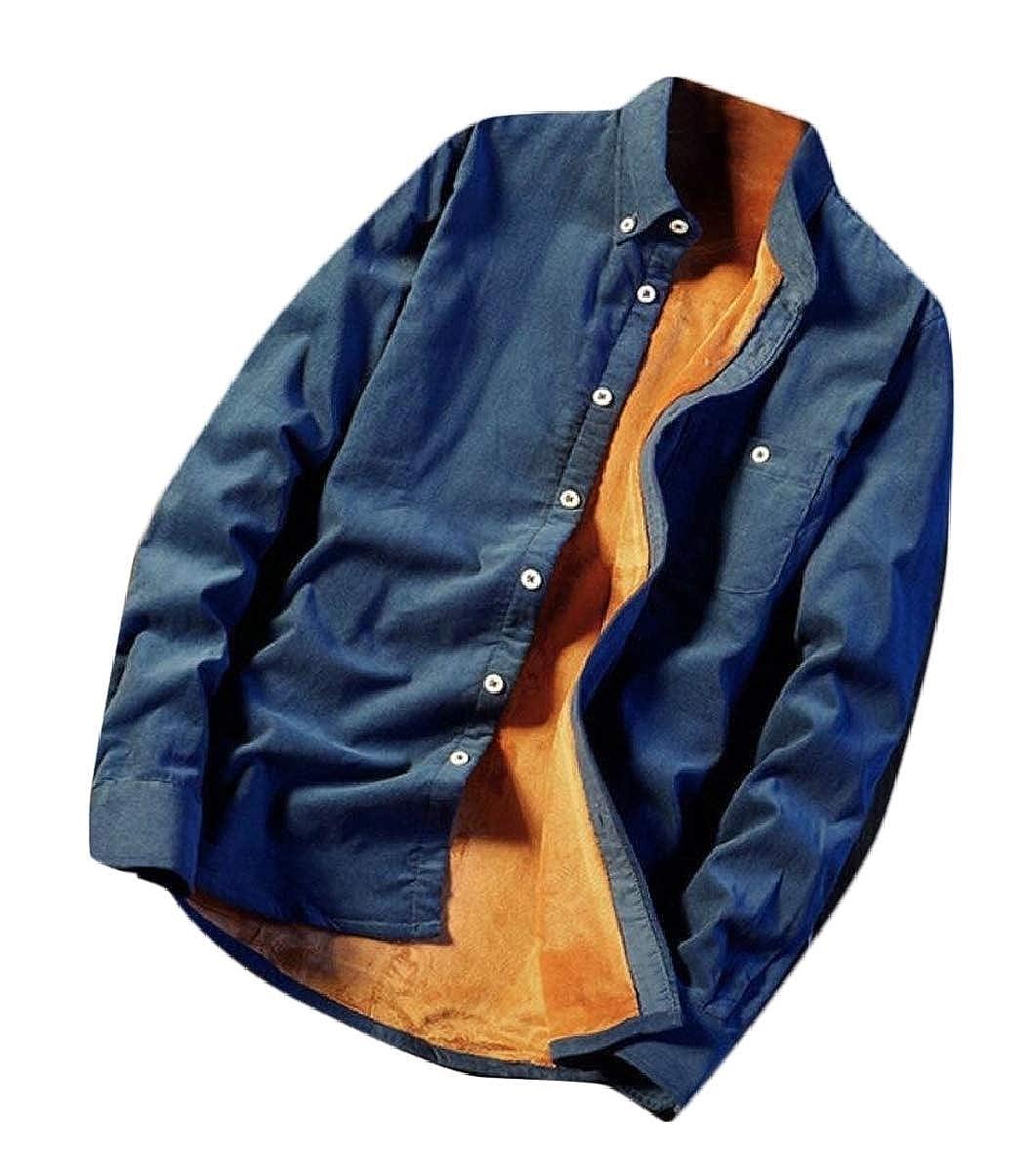 pujingge Mens Warm Solid Thick Fleece Corduroy Button Down Dress Shirts