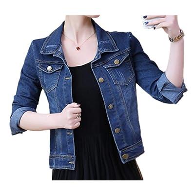 Andopa Casual botón de manga larga del bordado del dril de algodón Jean chaqueta de bombardero para Mujeres: Ropa y accesorios
