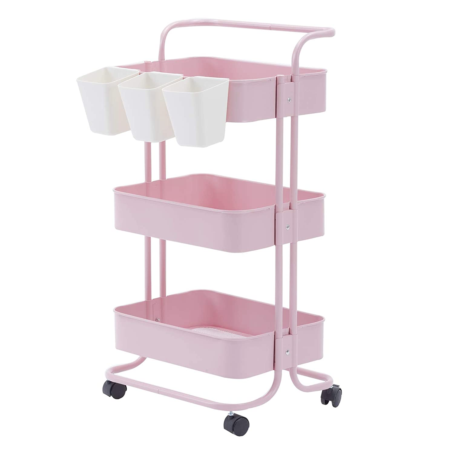 Artechworks 3-Tier Metal Storage Utility Rolling Cart with Handles Mesh Basket and Wheels and Extra Storage Accessories for Bathroom, Kitchen, Living Room,Office Pink