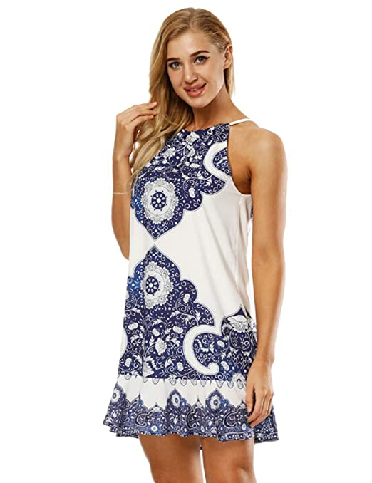 4f9a3dee9eae Amazon.com  HUHHRRY Floral Printed Vest Loose Tunic Top Shirt for Women  Summer Wear Tee  Clothing