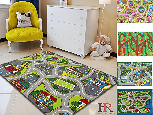 Handcraft Rugs-Kids Rugs Play Time Roads Map Driving Skills Anti Slip-Rubber Back / Game Carpets for Kids/Kids Toy/Kids learning rug/Kids Floor Rug (Approximately 5 feet by 7 (Map Floor)