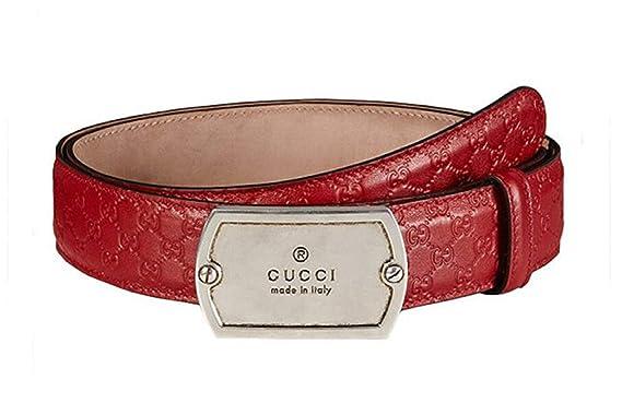 f0c25522780 Amazon.com  Gucci Men s Dog Tag Pebbled Leather Belt
