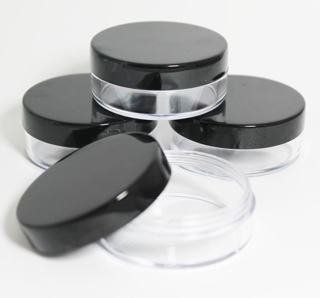 10x 20mL EMPTY PLASTIC JARS POTS with BLACK SCREW LIDS For Cosmetics/Powder/Mineral Make Up/Blusher/Foundation Lucemill Packaging