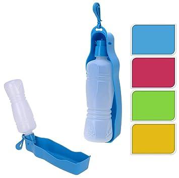 Trinkflasche für Hunde GELB - mobiler Wasserspender für den Hund - 450ml - Hundetränke