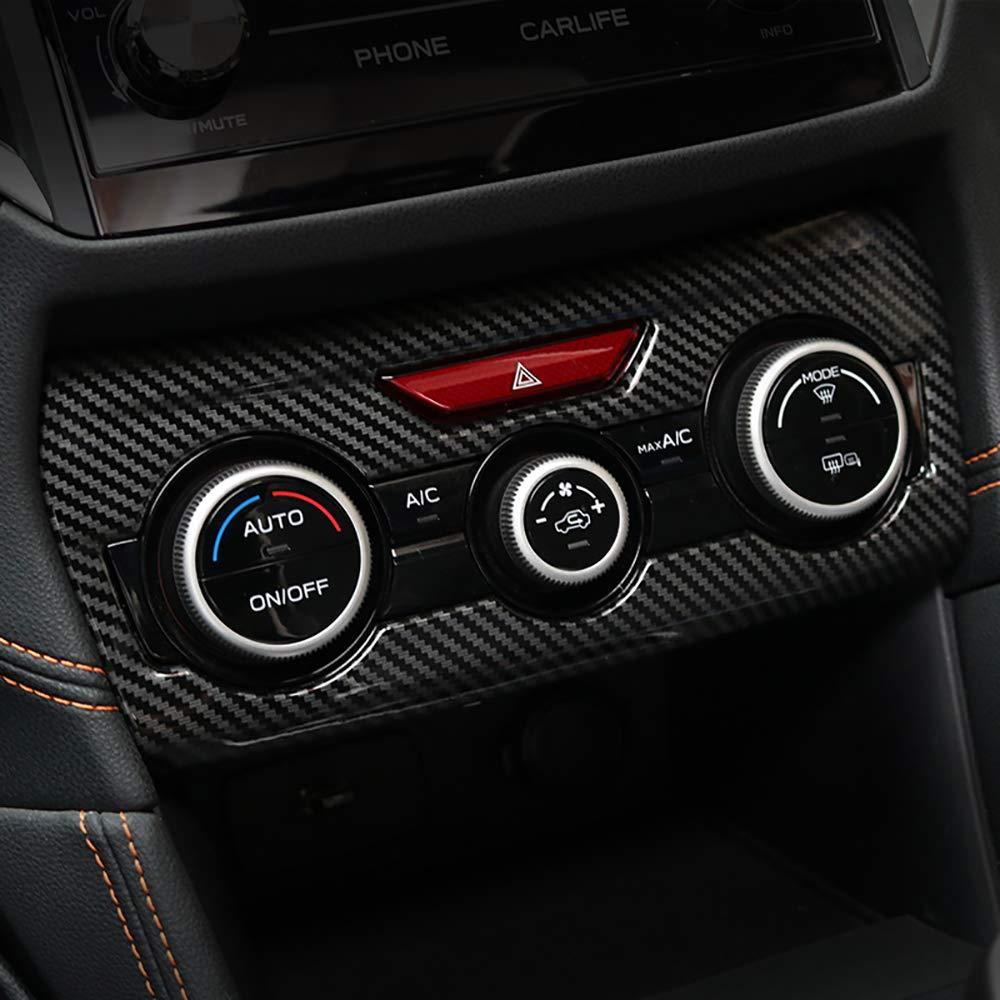 Kadore Black ABS Carbon Fiber Color Interior Console Dashboard Panel Air Condition Cover Trim for Subaru Crosstrek XV SUV 2018 2019