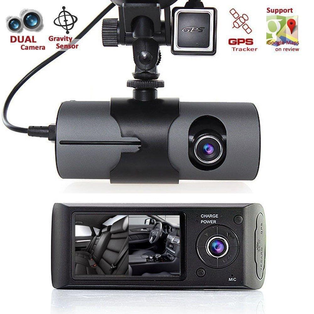 KUNAW 2.7'' Vehicle Car DVR Camera Video Recorder Dash Cam G-Sensor GPS Dual Len Camera