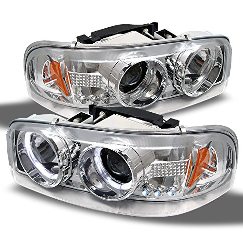 - For GMC Sierra Yukon Denali Pickup Chrome Halo Ring LED Projector Replacement Headlights Left/Right Pair