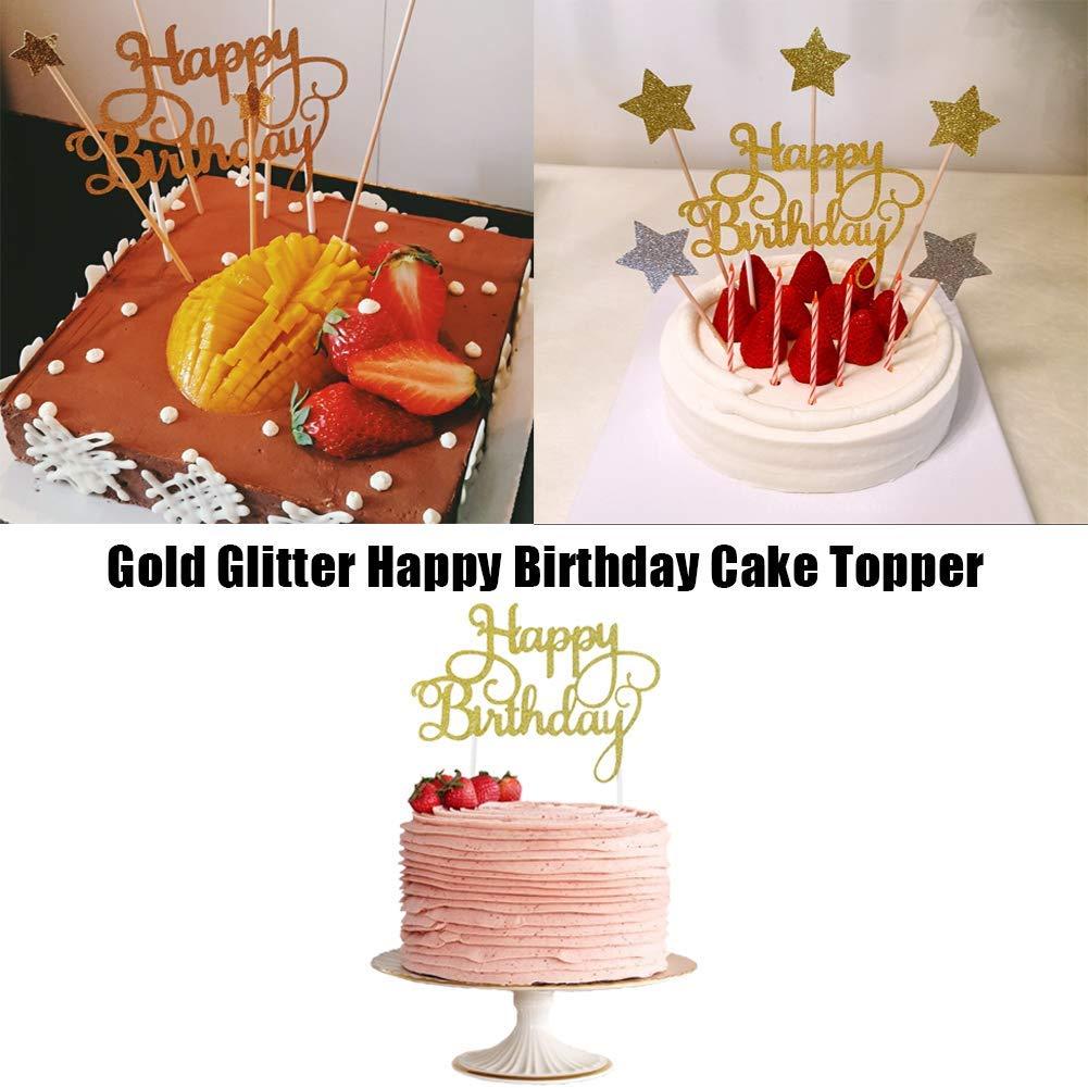 SUNBEAUTY Decorazione di Compleanno Set Carta Fragole Accessori per Torta Happy Birthday Banner Ghirlanda Ventaglio Carta Rosso