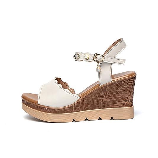 9f1123e3bdf0a JITIAN Sandales Talons Hauts Compensés pour Femmes, Plateforme Perlé  Élégant Bride Cheville Chaussure  Amazon.fr  Chaussures et Sacs