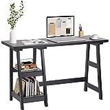 FurnitureR Caballete Escritorio de computadora Blanco con 2 estantes de Almacenamiento extraíbles Estación de Trabajo de Ofic