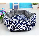 NEO Home Thickened Canvas&Short Plush Regular Hexagon Dog Bed with Double Sided Usable Pad,Overstuffed Pet Beds for Cats & Dogs.