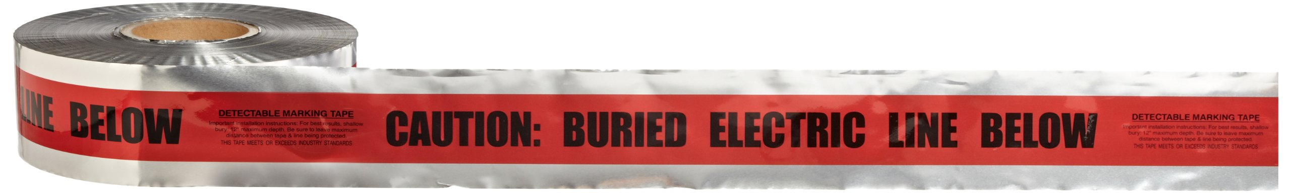 Scotch Detectable Buried Barricade Tape 406, CAUTION BURIED ELECTRIC LINE BELOW, 3 in x 1000 ft, Red