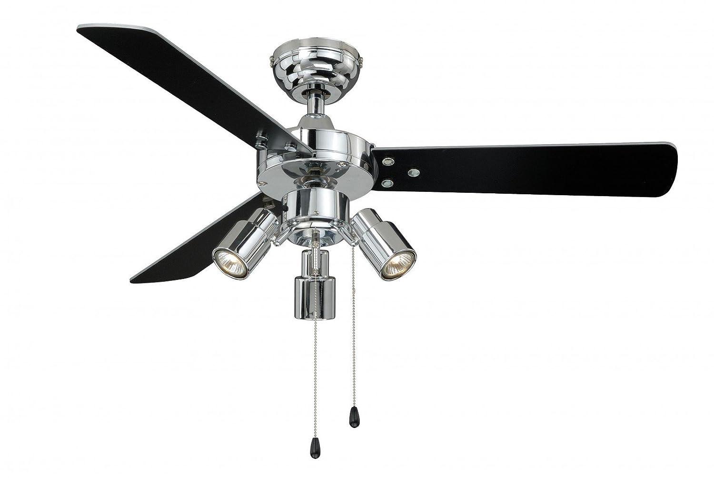 Deckenventilator mit Beleuchtung und Zugschalter Cyrus 107 cm, Gehäuse chrom glänzend, Wendeflügel in schwarz und silber AireRyder FN44444