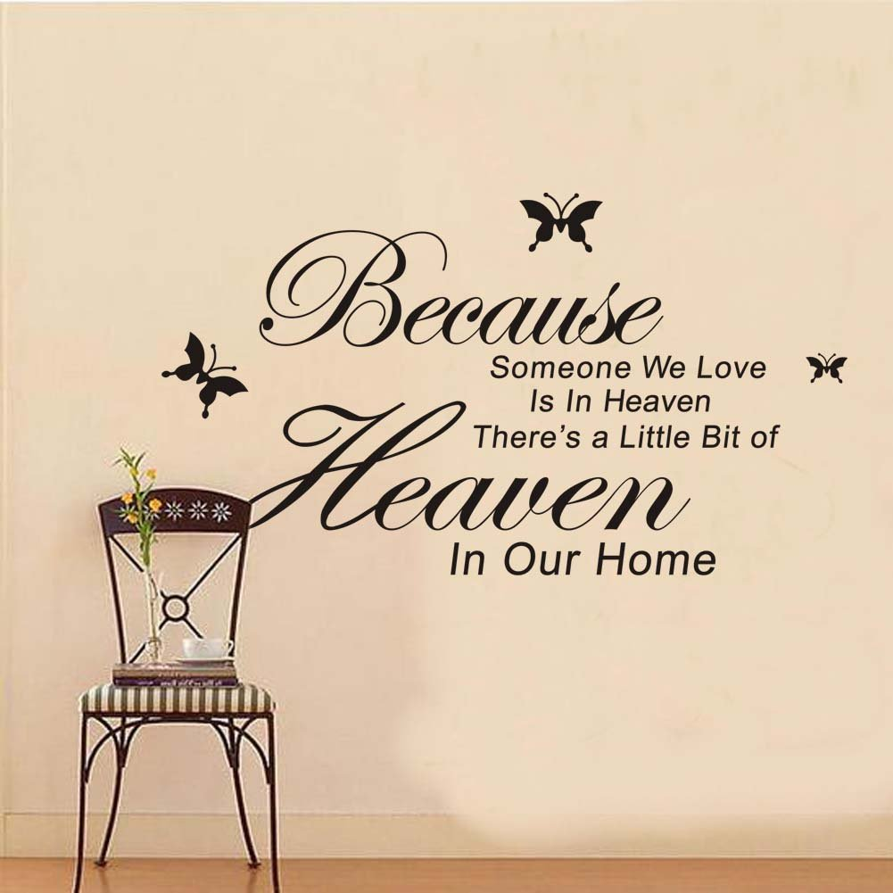 Amazon because someone we love is in heaven theres a little amazon because someone we love is in heaven theres a little bit of heacen in our home vinyl wall lettering stickers quotes and sayings home art decor amipublicfo Gallery