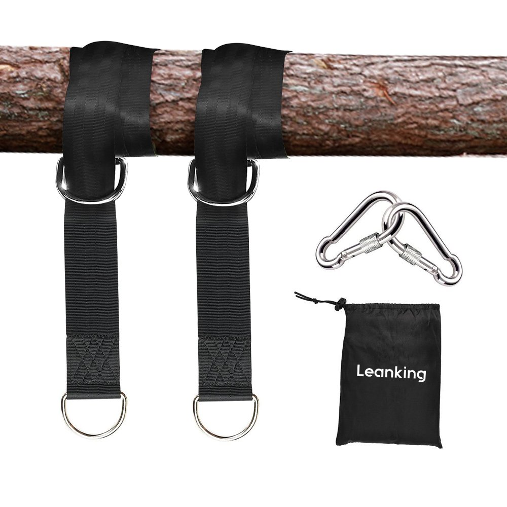 2 PCS Tree Swing Straps,LeanKing Tree Swing Hanging Kit Holds Max 2000 LB with Two Heavy Duty Carabiners (Stainless Steel) for Swing Seat, Plank, Camping hammock (5ft)