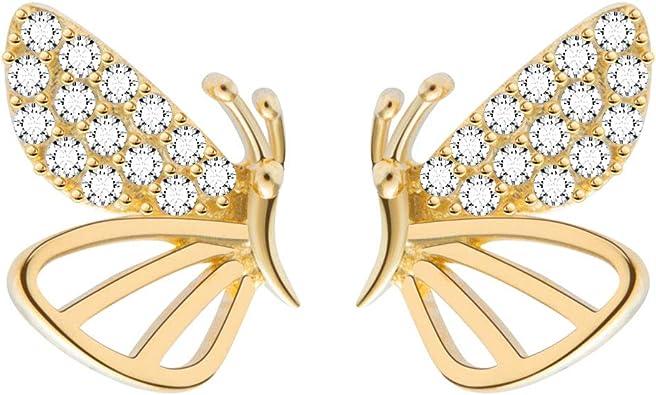 Details about  /Dainty Butterfly CZ Stud 925 Sterling Silver Push Back Earrings