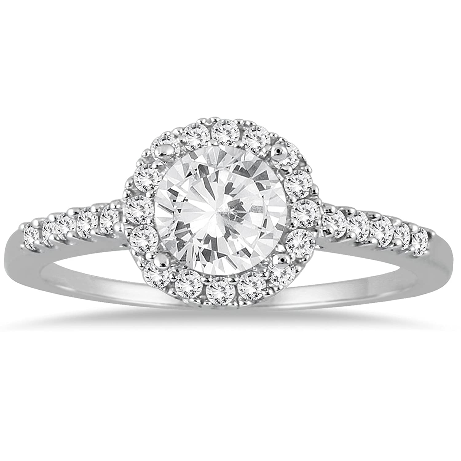 AGS Certified 1 Carat TW Diamond Halo Engagement Ring in 10K White