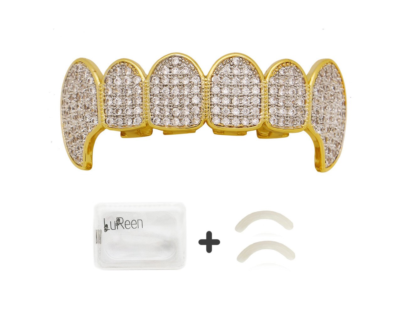 Lureen Gold Silver Twotone Iced Out CZ Vampire Fangs Grillz Set + 2 EXTRA Molding Bars (Top Grillz)