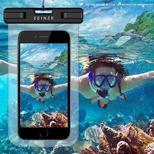"""ZEINZE Waterproof Case Universal Waterproof Phone Bag Pouch Drg Bag for Iphone 6 6S 7 Plus 5 5S 5C Galaxy S8 S7 S6 S5 S4 Note 5 4 3 Google Pixel HTC LG SONY MOTO Devices Up to 6"""" 4 Pack"""