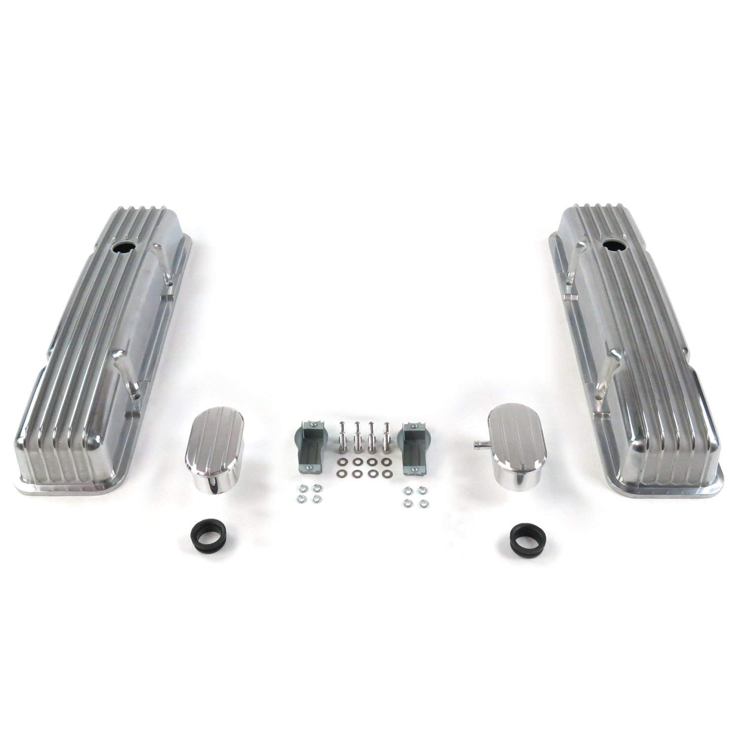 ~Small Block Chevy PCV Vintage Parts 333777 Vintage Tall Finned Valve Coverswith Breathers 1 Pack