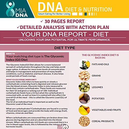 MiaDNA Genetic Home Test Kit for & ! personal testing and to food! tailored for you with genetic analysis!