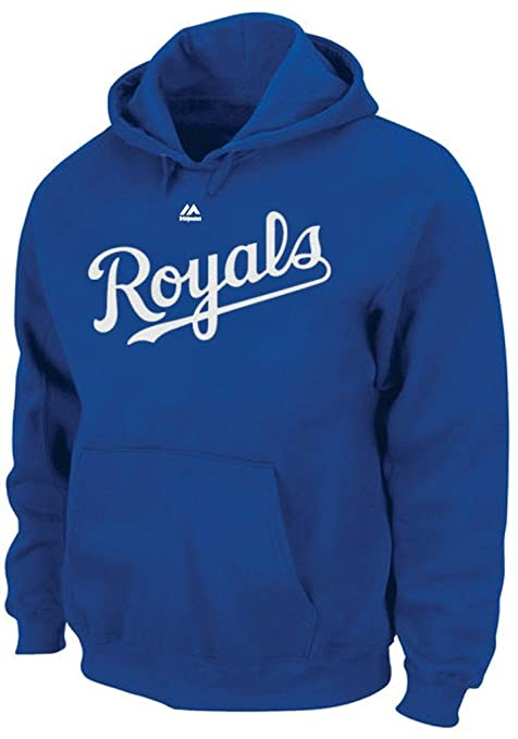 8e7e7b1be4a Majestic Kansas City Royals MLB Mens Wordmark Hoodie Royal Blue Big Sizes  (5XL)