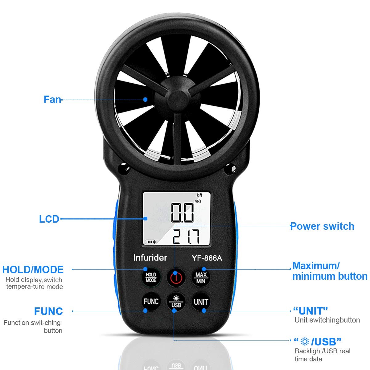 Wind Temp Air Flow Measurement with Data Hold /& USB Connected Wind Velocity CFM Tester Digital Anemometer,Handheld Wind Speed Meter Gauge High-precision Wind Speed INFURIDER YF-866A