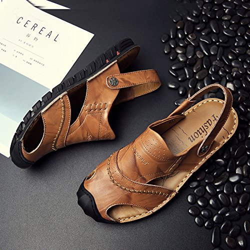 Brown Sandals Shoes Toe Leather Trekking Breathable Hollow Shoes Closed Walking Beach Men's Outdoor aSqAwBq