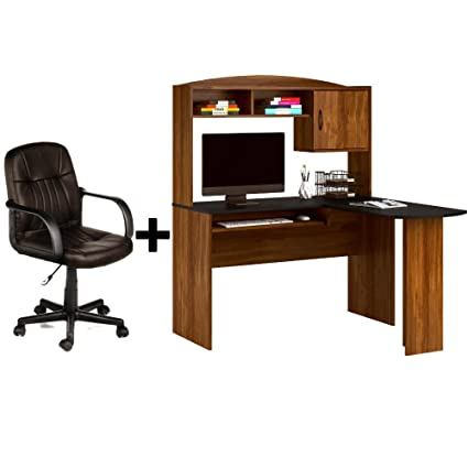 Beau Corner L Shaped Wood Office Desk With Hutch In Black/Brown + Leather Mid
