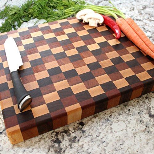 End Grain Tricolor Chopping Block - Engraved Cutting Board, Custom Cutting Board, Wedding Gift, Housewarming Gift, Anniversary Gift, Engagement W-054GB