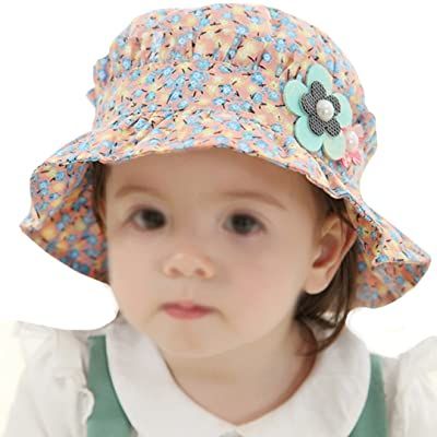 Aisa Baby Girls Infant Summer Sunhat Cotton Flower Print Bucket Hat with Flower Decor