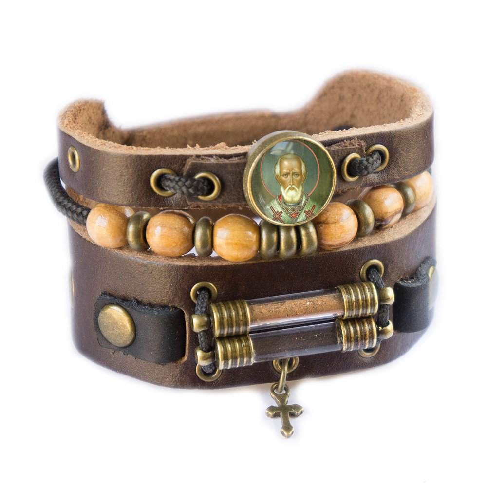 Saint Nicholas Bracelet with Olive Wood Beads, Jordan River Holy Water and Jerusalem Earth (Women size: 6.5 - 7.5 Inches) by Rani Shoket