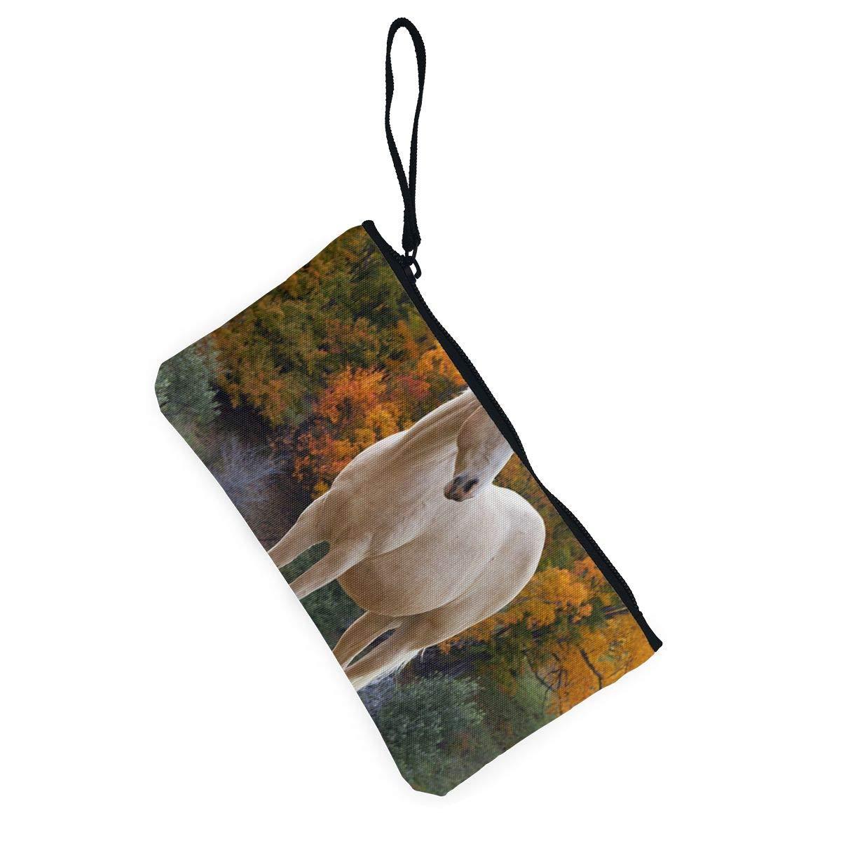Coin Purse White Horse In Autumn Mens Zipper Canvas Purse Wallet TravelCustomized Case
