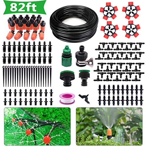 HANSILK Irrigation System 82ft DIY Adjustable Micro Automatic Drip Irrigation Kit for Garden Flower Beds Saving Water and Time 1/4-inch Blank Distribution Plant Tubing Hose 2 Sprinkler Types