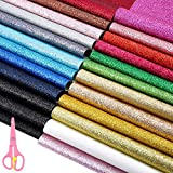 Caydo 24 Colors Shiny Superfine Glitter Fabric, PU Leather Fabric Sheet Canvas Back for Craft DIY, Hair Crafts Making, Leather Earings Making and Christmas Decoration 12.6 x 8.6 Inch (32 x 22 cm): more info