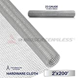 Windscreen4less 23 Gauge 1/4 Inch Square Galvanized Mesh Hardware Cloth 24-Inch Tall Custom Size Cut-to-length 2ft x 200ft