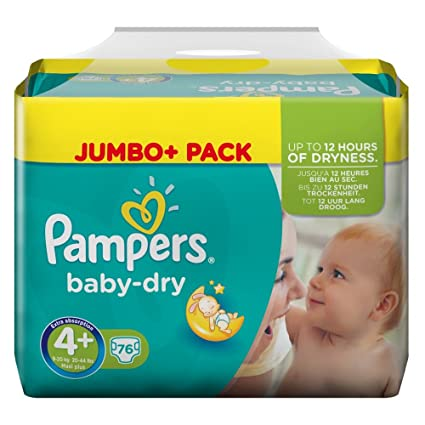 Pampers Baby Dry Tamaño 4 + (Maxi +) Jumbo pack 76 unidades