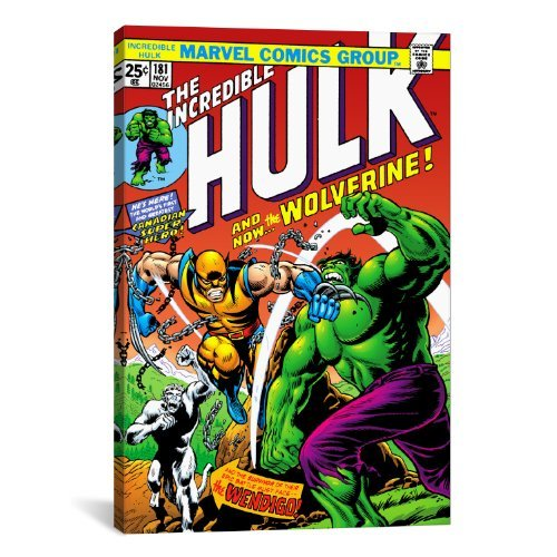 iCanvasART Marvel Comic Book Hulk Issue Cover No.181 Canvas Art Print, 18 by 12-Inch
