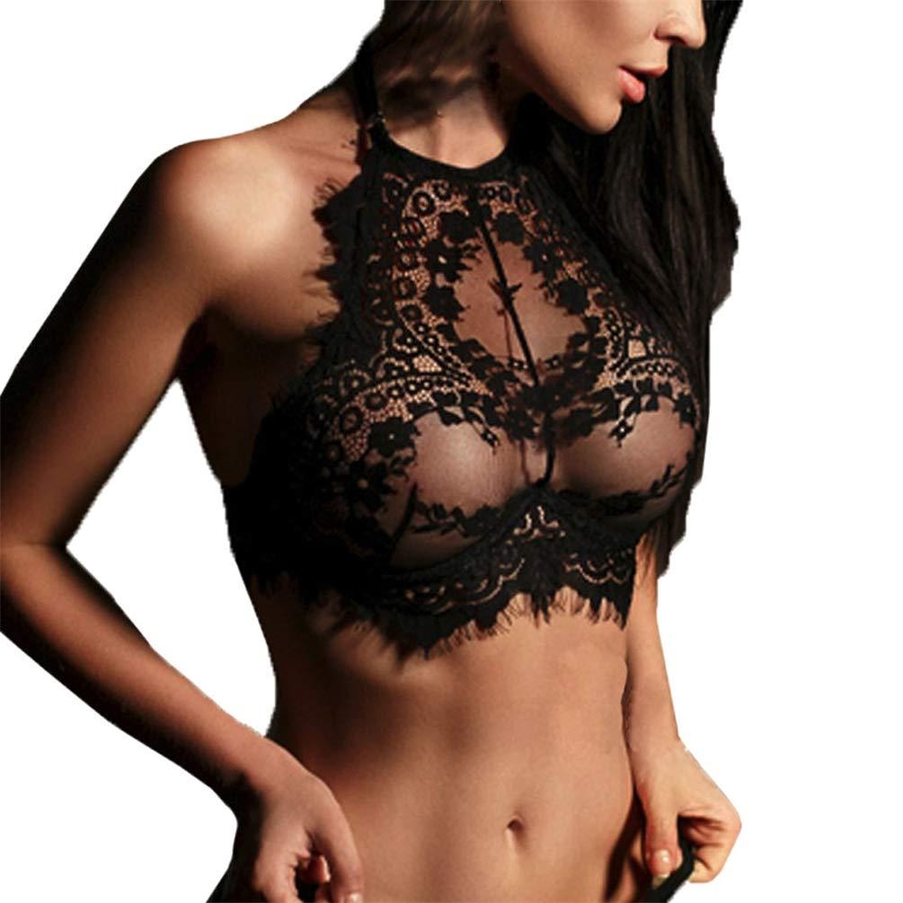 Oasisocean Women's High Neck Lace Halter Bralette Bralet Bra Cami Crop Lingerie Top Floral Underwear Black