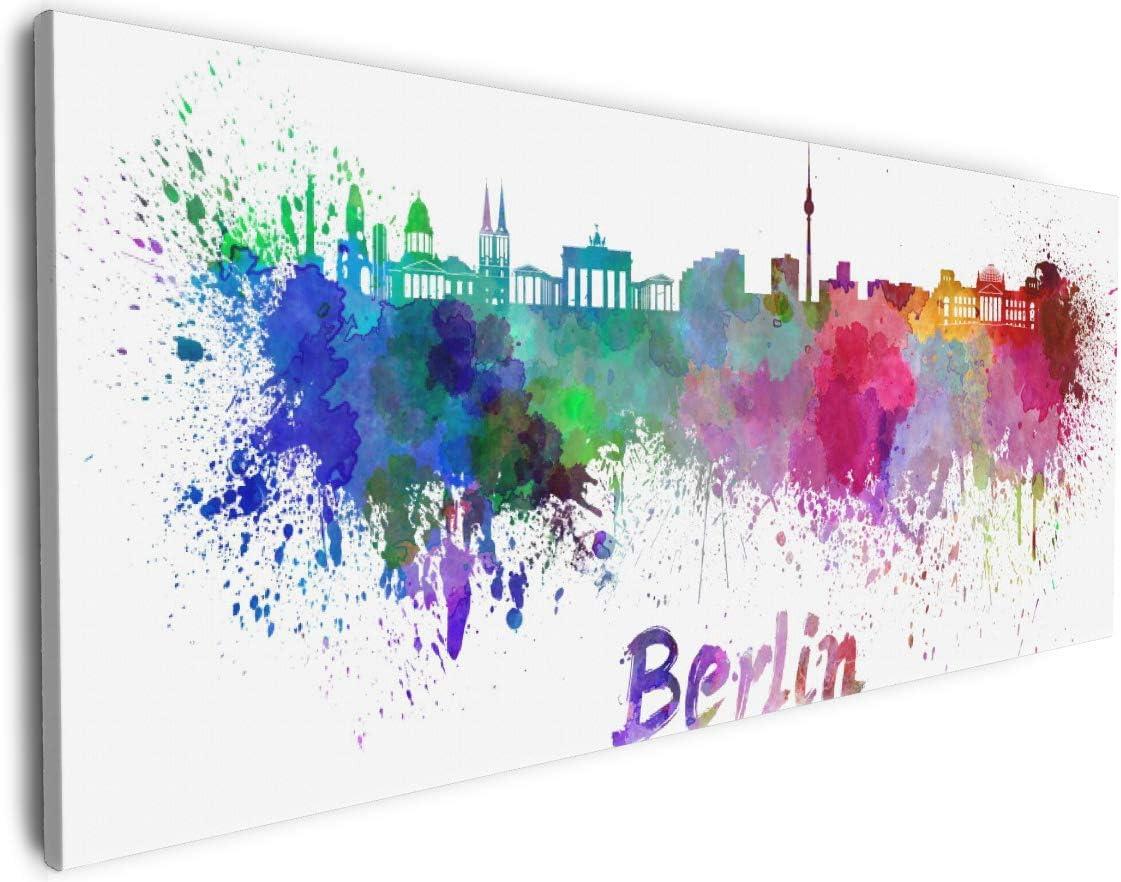 Wallario Leinwandbild St/ädte als Aquarell hochaufl/ösend verzugsfrei Skyline von Berlin 50 x 50 cm in Premium-Qualit/ät: Brillante lichtechte Farben