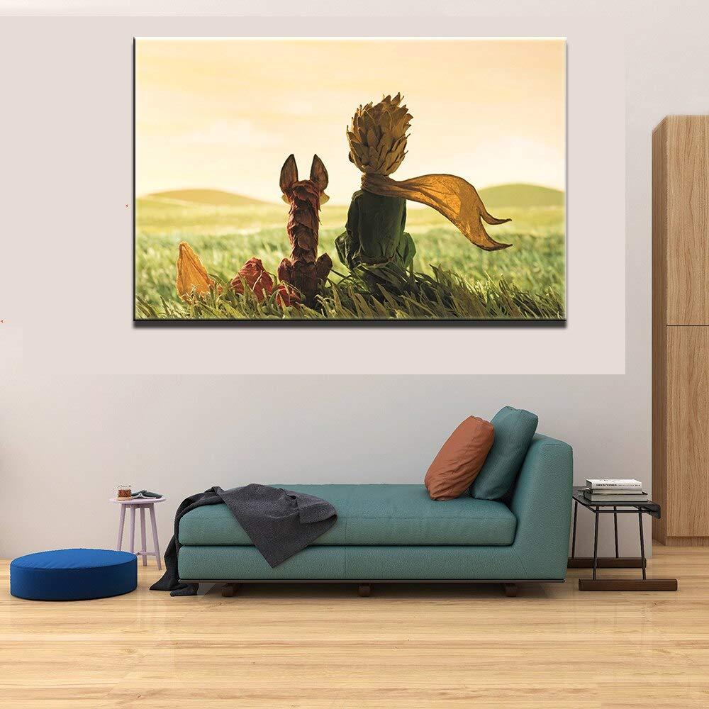 Affiche Oeuvre HD Imprimer 1 Pi/èce Le Petit Prince Et Le Renard D/écor /À La Maison Enfant Chambre Mur Art Dessin Anim/é Modulaire Photo Cadre Toile Peinture-40X60Cm