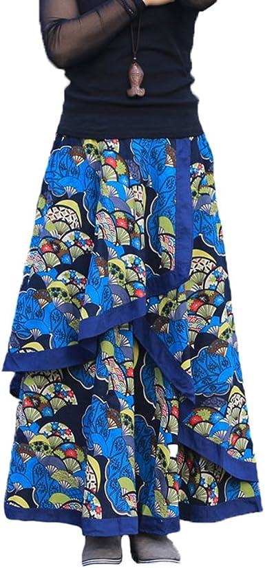 NiSeng Mujeres Vintage Largas Falda Larga Volantes Faldas de ...