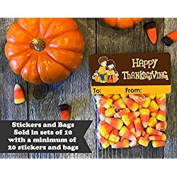 Happy Thanksgiving Treat Bags and Stickers, Set of 20, Kids